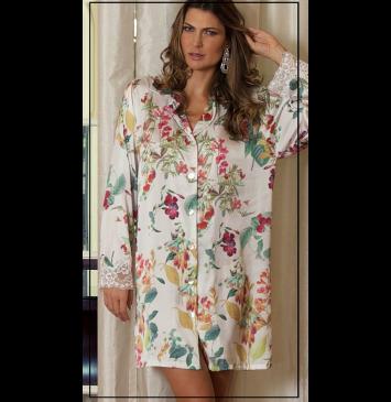 Camisola camisão curta de seda com botões Pérola floral Mariah