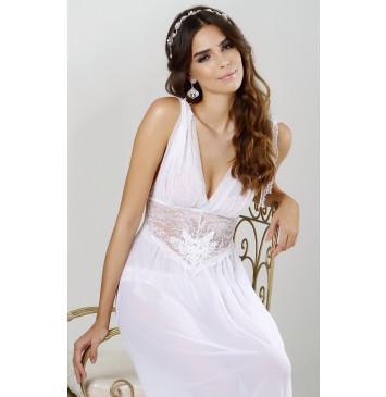 Camisola longa de noiva com tule e renda branca detalhe com guipir